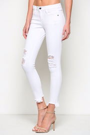 White Skinny Distressed + Frayed Hem
