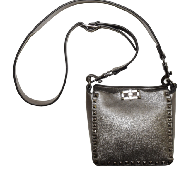 Vegan Mini Studded Crossbody Pewter
