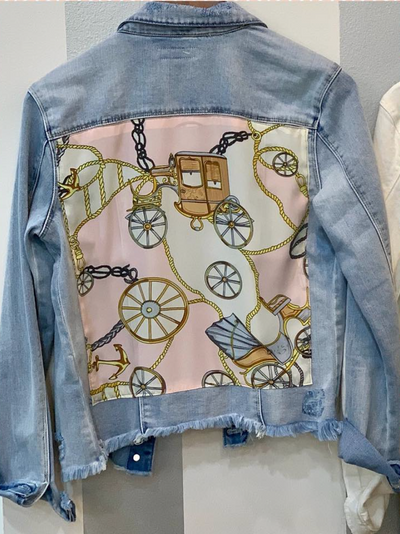 HTrailz Light Blue Denim Jacket with Pink Scarf