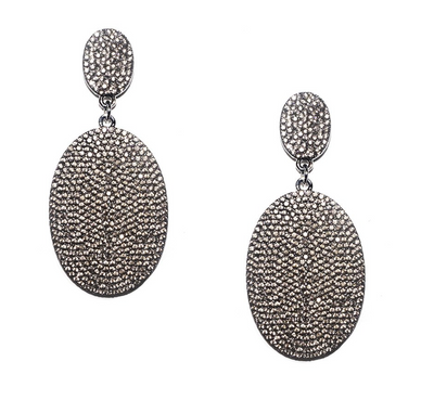Pave Oval Disk Earring