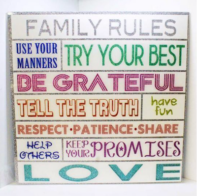 24 x 24 Family Rules Wall Decor