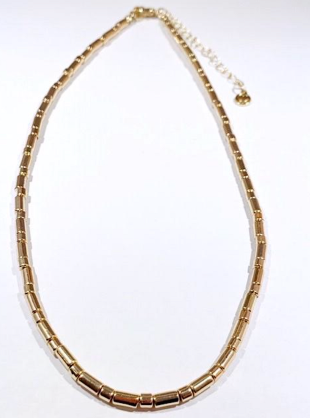 Tube Tile Necklace - Gold
