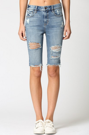 High Rise Distress Cycle Short- Medium Light Denim