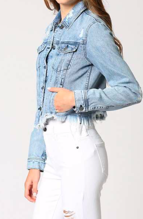 Light Blue Frayed Jacket