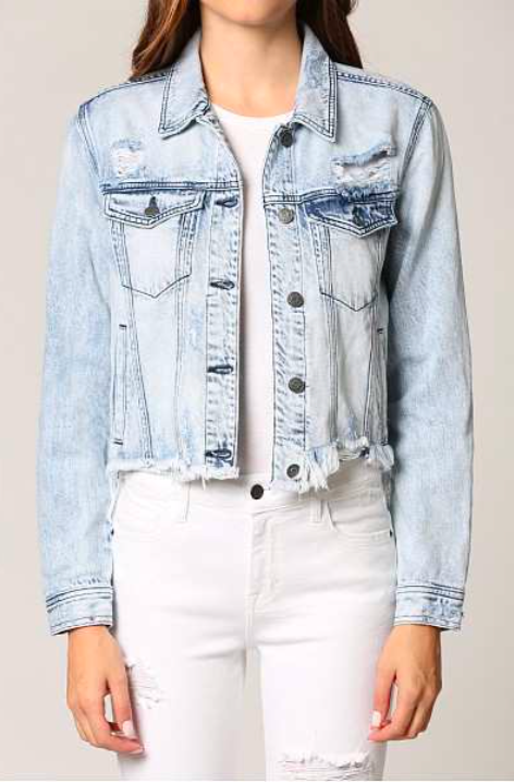 Super Light Blue Frayed Jacket