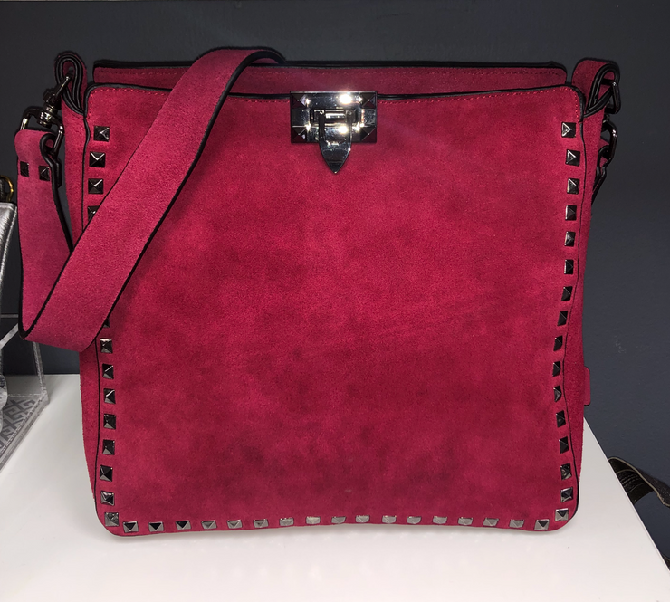 Suede Studded Crossbody Berry