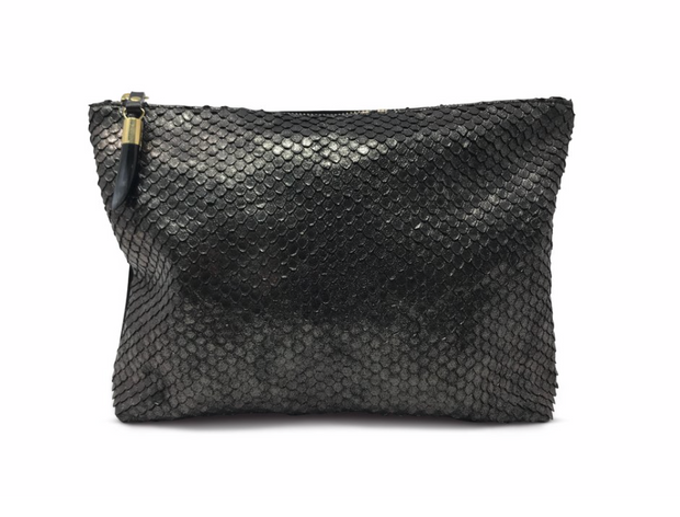 Kempton & Co. Metallic Cobra Bronze Clutch