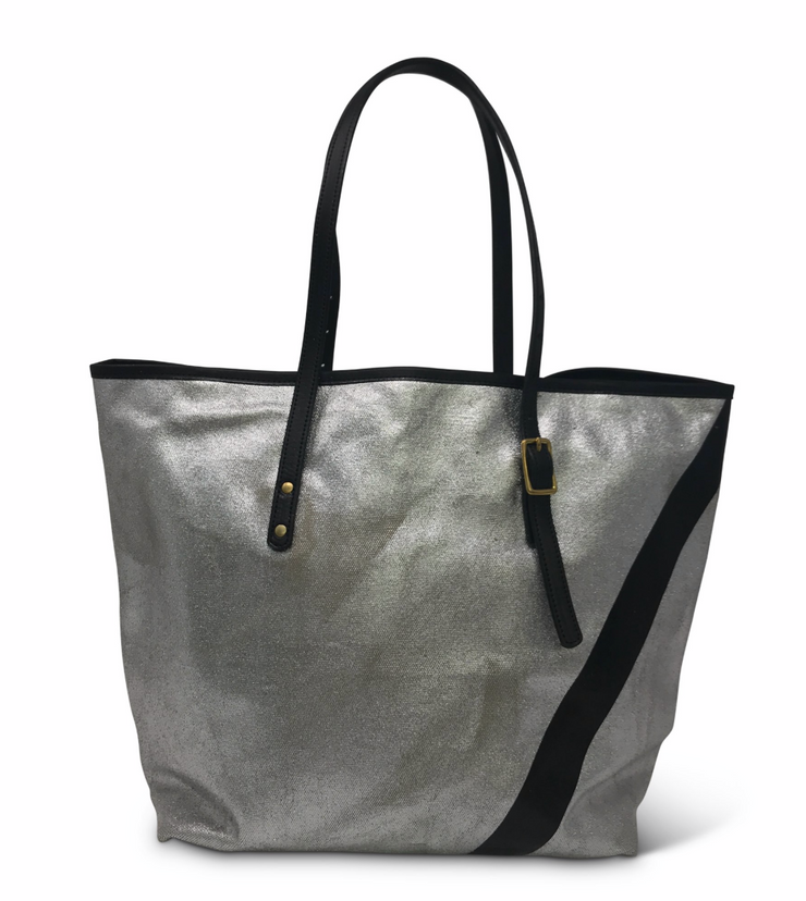 Kempton & Co. Metallic Canvas Small Tote