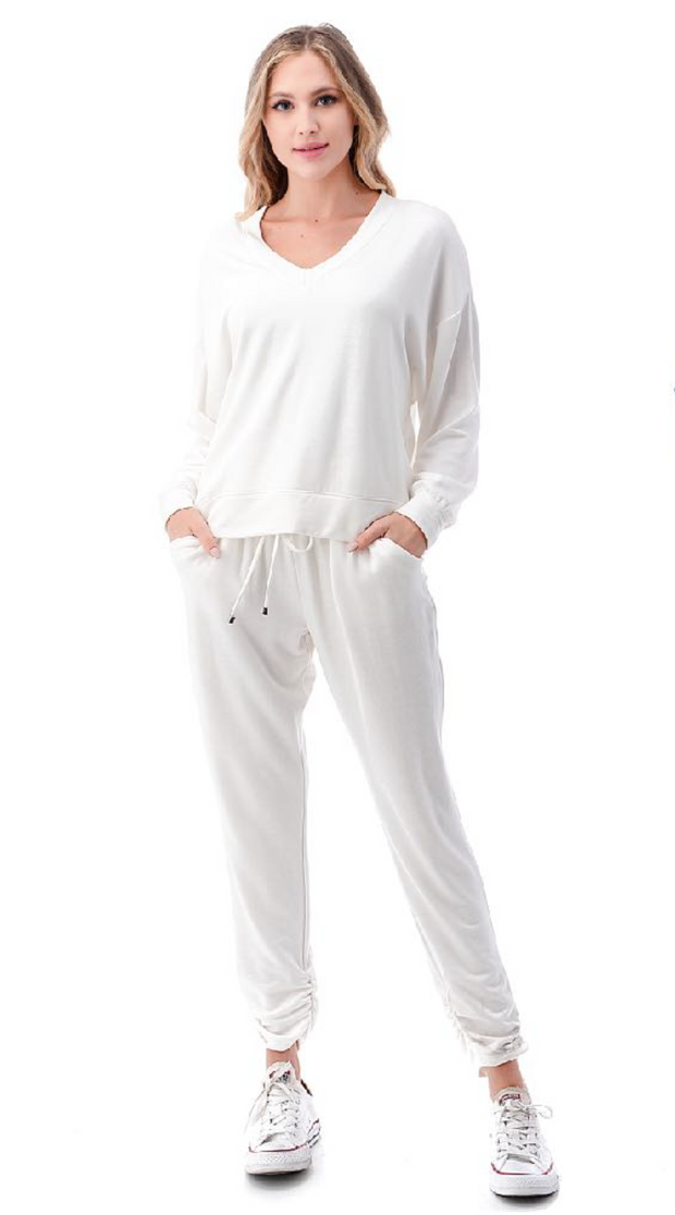 Ivory French Terry Ruched Joggers