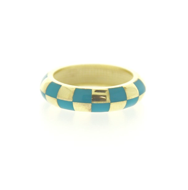 Enamel Checkered Ring