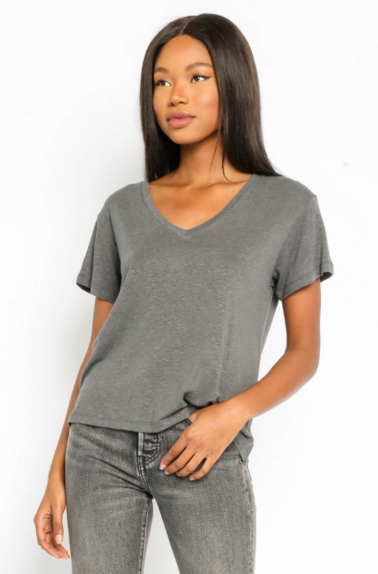 Distressed V Neck Tee