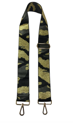 Black/Grey/Gold Camo Guitar Strap