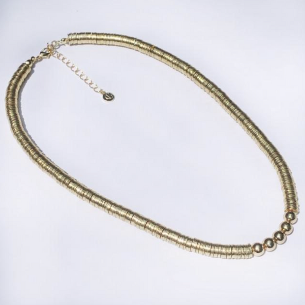 Tube Tile Necklace - White/Gold