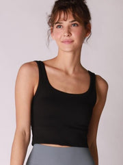 Ribbed Cropped Top with Scoop Neck