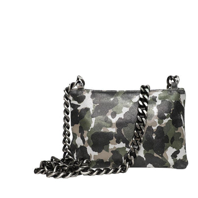 Leather Camo Crossbody with Chunky Chain