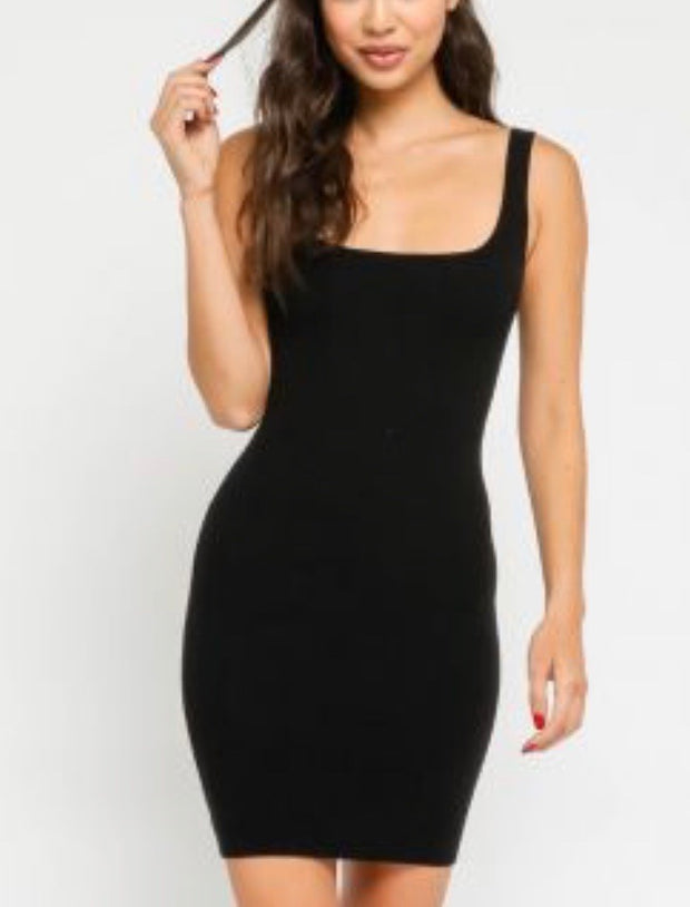 Black Fitted Tank Dress