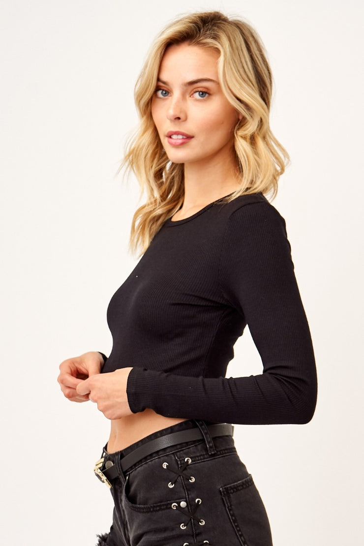 Ribbed Long Sleeve Cropped Tee
