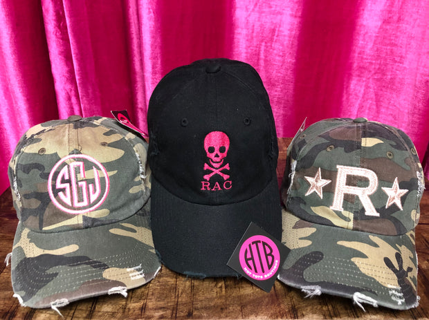 Hearts, Stars, Monograms and More Embroidered Baseball Hats