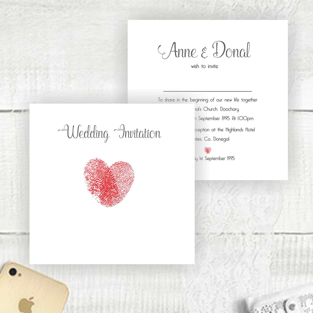 Thumb Print Heart Wedding Invitations