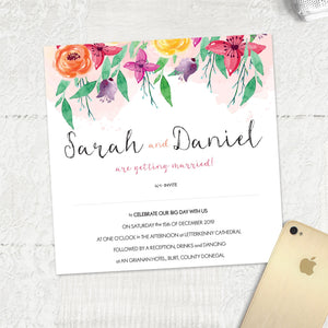 Pink Orange purple themed summer invite