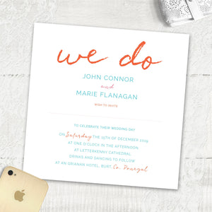 Rustic wedding invite Ireland