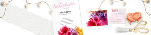 Floral Invitation; Pink Invite, Purple Invite, Yellow Invite