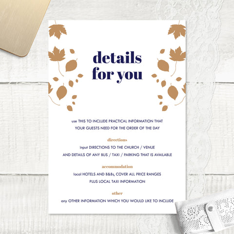 Autumn Leaves - Guest Information Card
