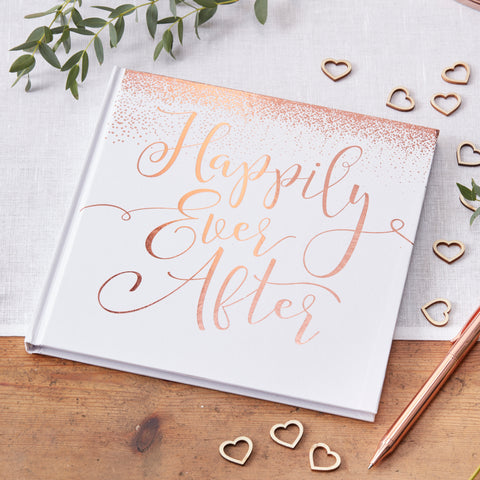 Happily Ever After Rose Gold Foiled wedding guest book