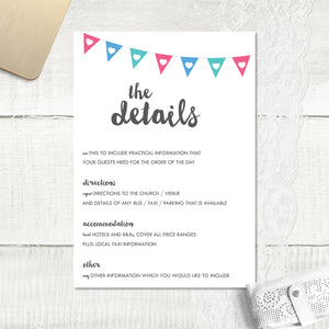 Bunting - Guest Information Card