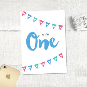 Bunting - Table Numbers