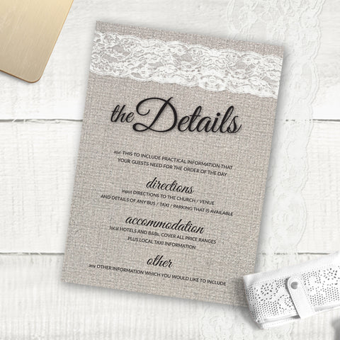 Burlap Lace - Guest Information Card