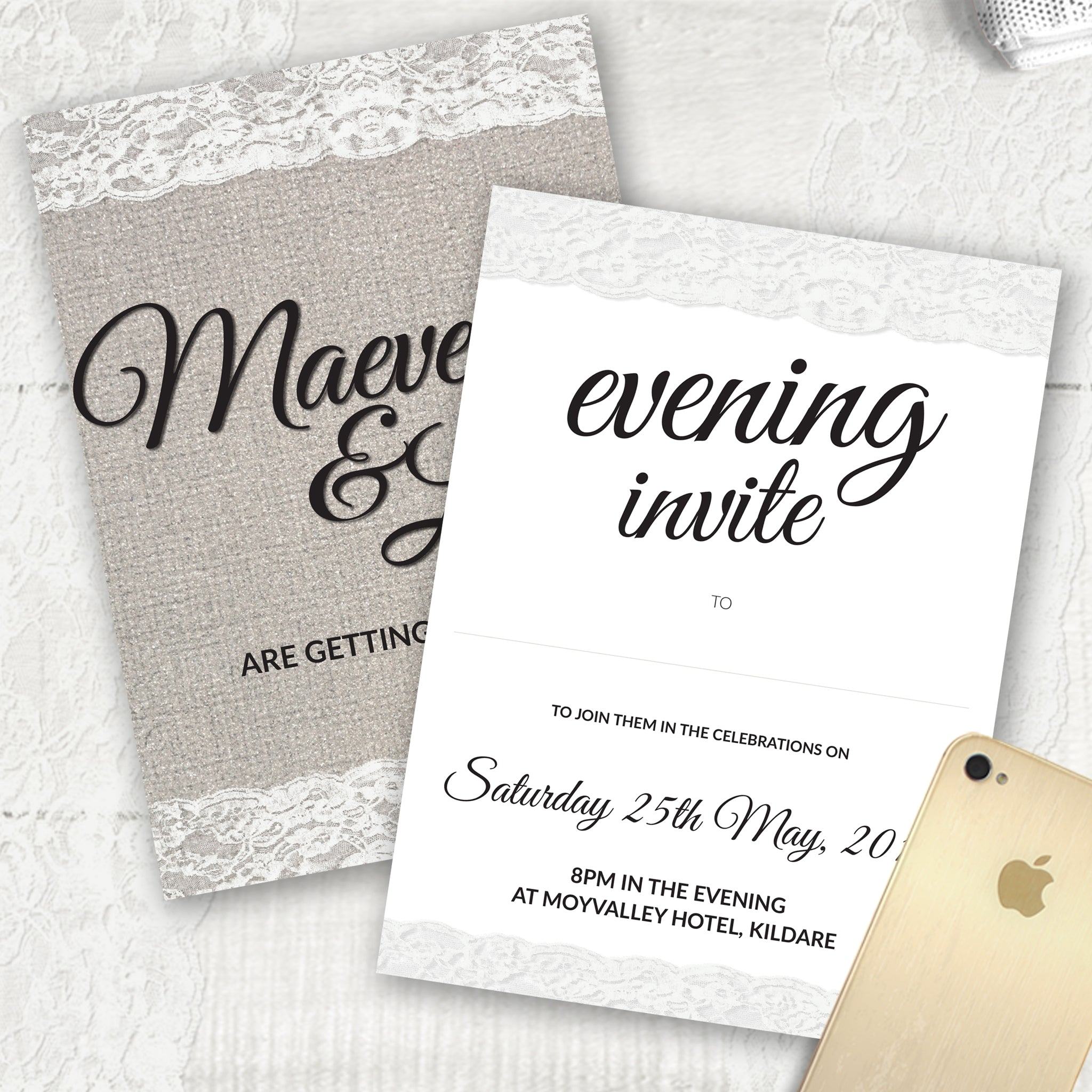 Burlap Lace - Evening Invitation