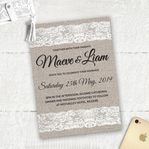 Burlap Lace - Main Invite