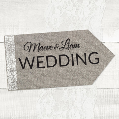 Burlap Lace - Wedding Pointer Sign