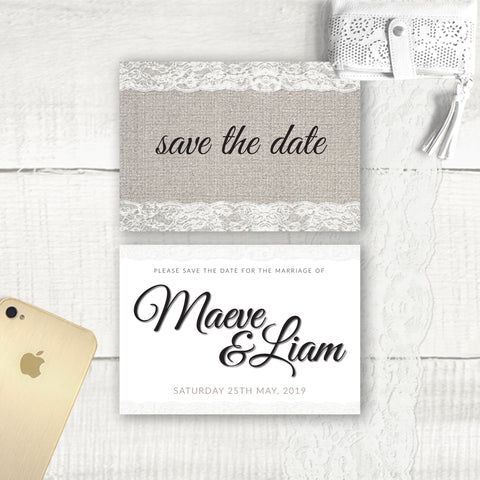 Burlap Lace - Save the Date
