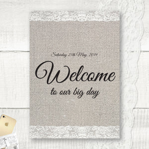 Burlap Lace - Welcome Sign