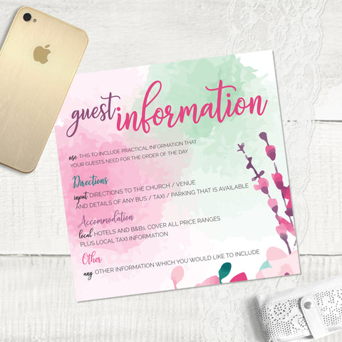Cherry Blossom - Guest Information Card