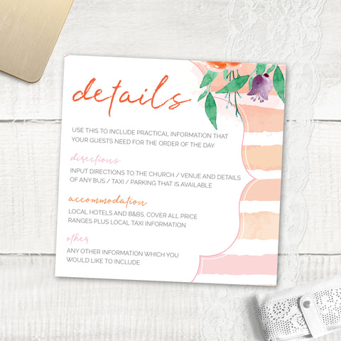 Colour Me Beautiful - Guest Information Card