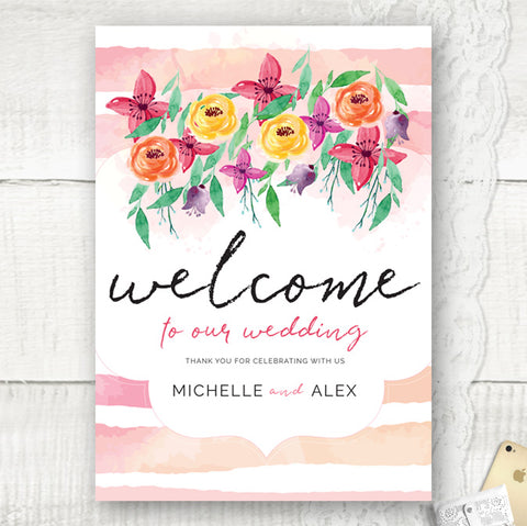 Personalised Welcome Wedding Sign, Floral theme wedding