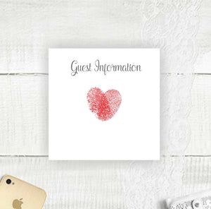Thumb Print Heart - Guest Information Card