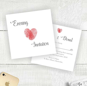 Thumb Print Heart - Evening Invitation
