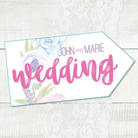 Wedding directional sign, road signs for weddings, Floral Wedding
