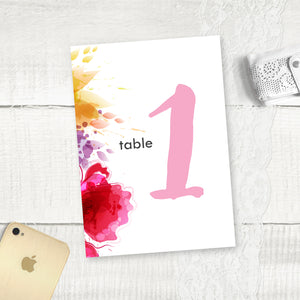 Floral Splash - Table Numbers