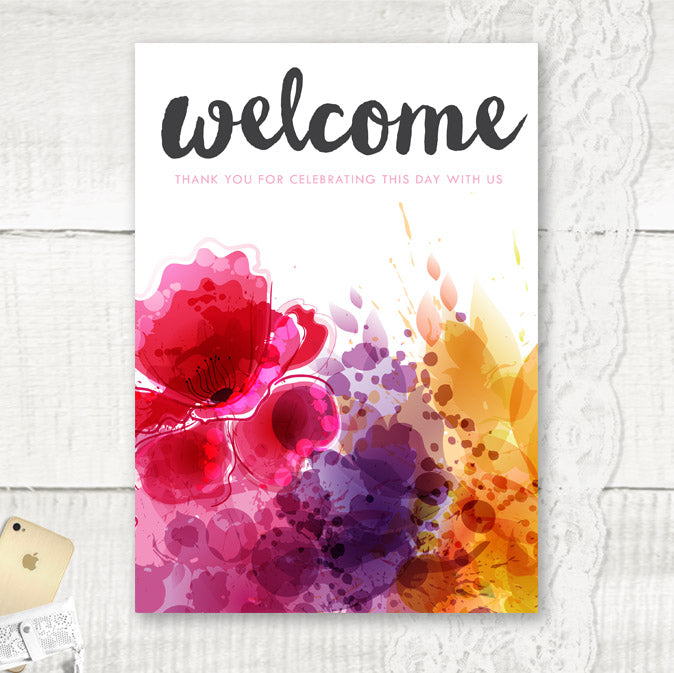 Personalised Welcome Wedding Sign Floral themed wedding
