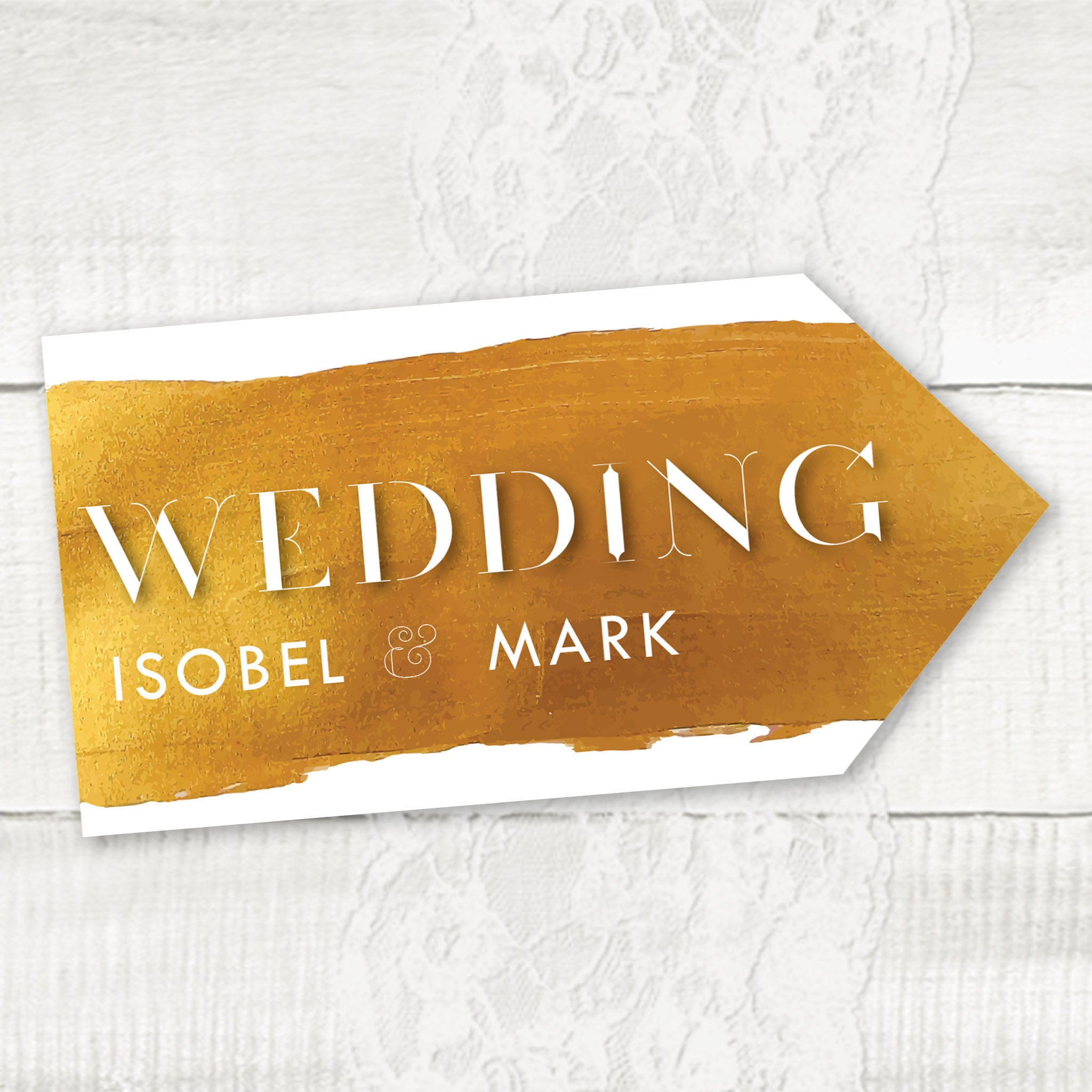 Wedding directional sign, road signs for weddings Gold Theme