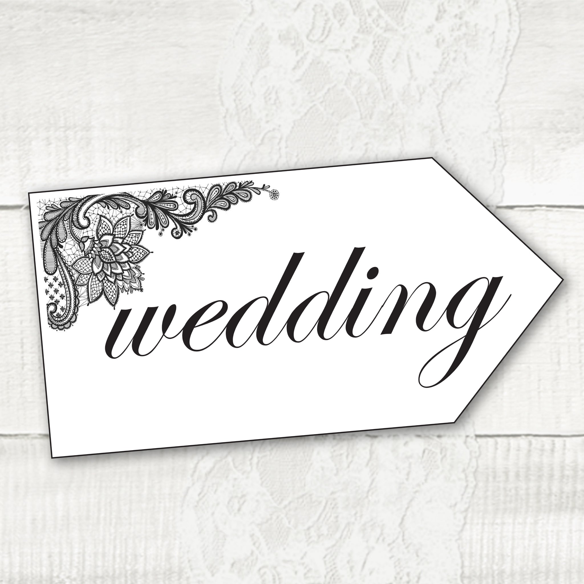 Simple Lace - Wedding Pointer Sign