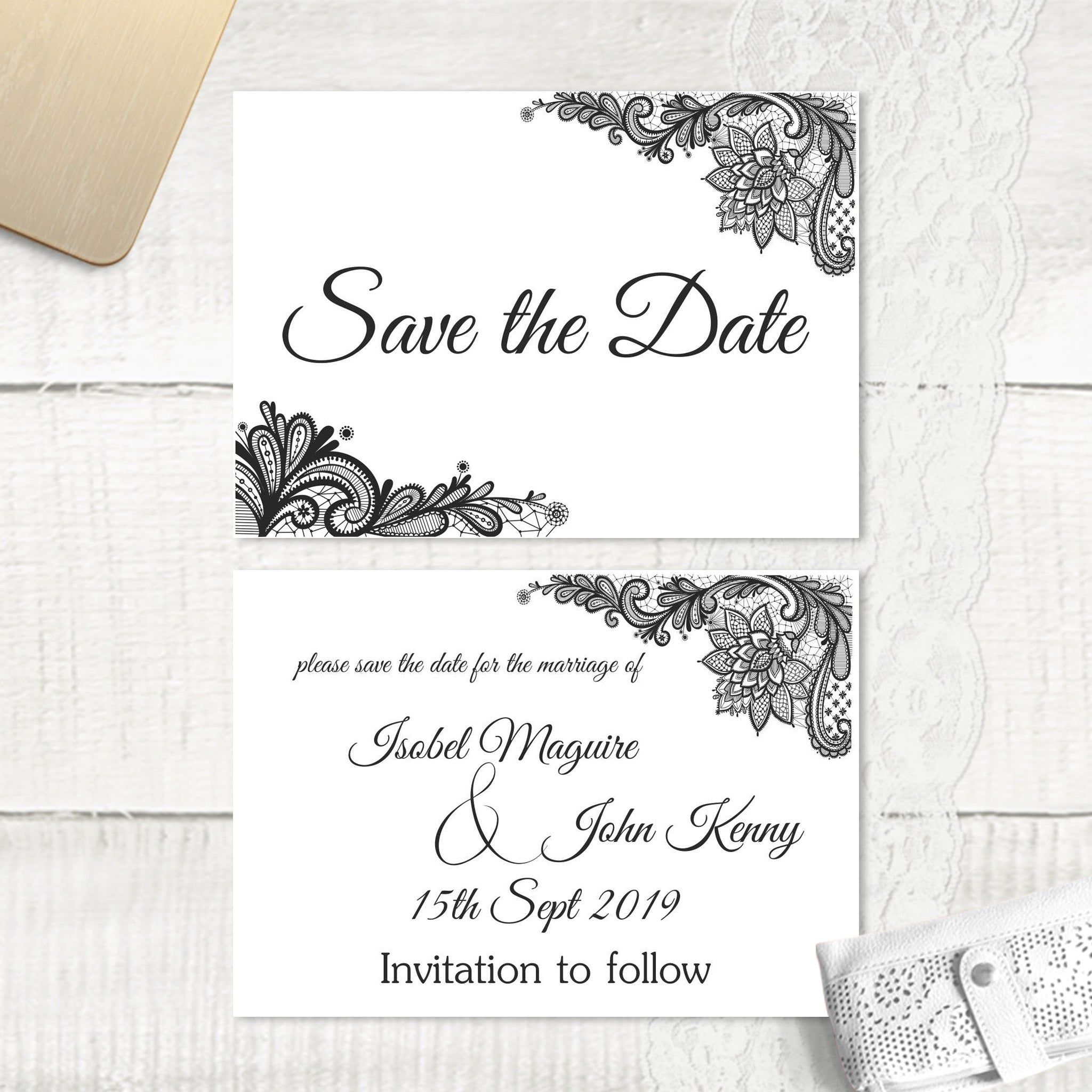 Simple Lace - Save the Date