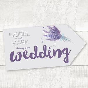 Wedding directional sign, road signs for weddings Lavander