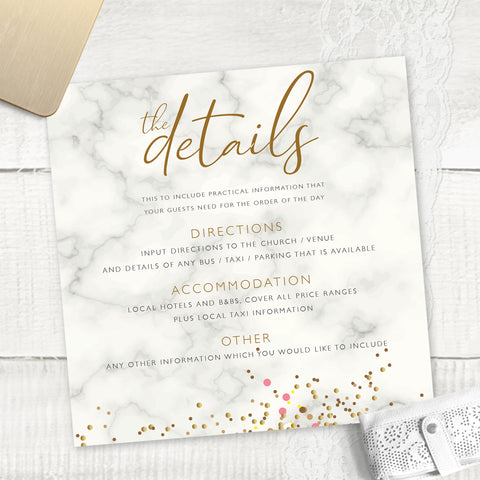 Marble Glitter - Guest Information Card