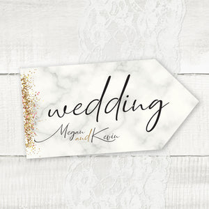 Wedding directional sign, road signs for weddings Marble and glitter